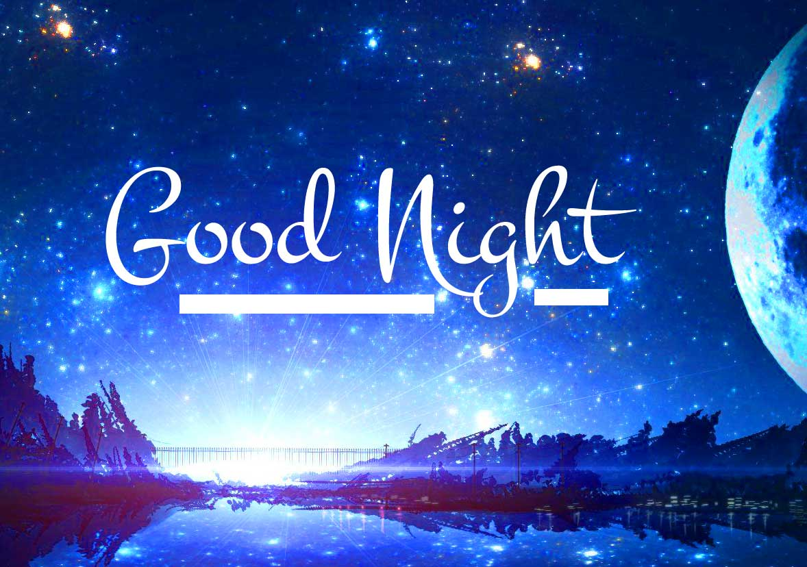 Lovely River Night Scenery with Good Night Wish