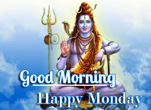 Lovely Shiva Pic with Good Morning Happy Monday Wish