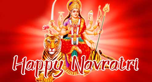 Maa Durga in Red Background with Happy Navratri Wishing