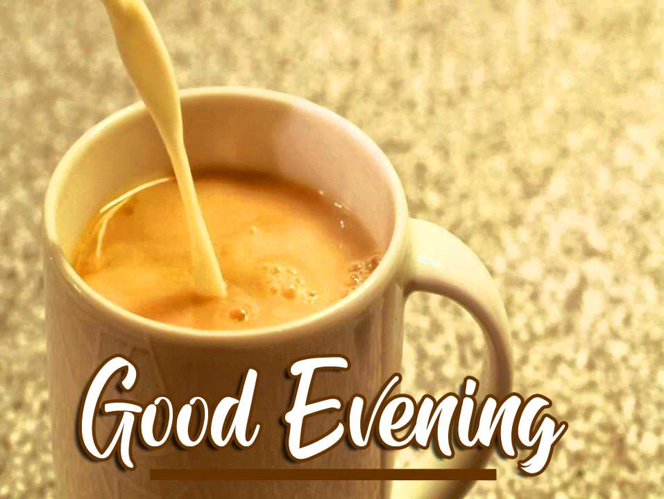 Masala Chai Pouring Image with Good Evening Wishing Copy