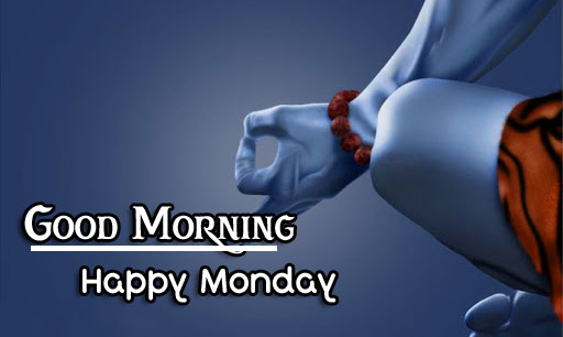 Meditating Shiva with Good Morning Happy Monday Message