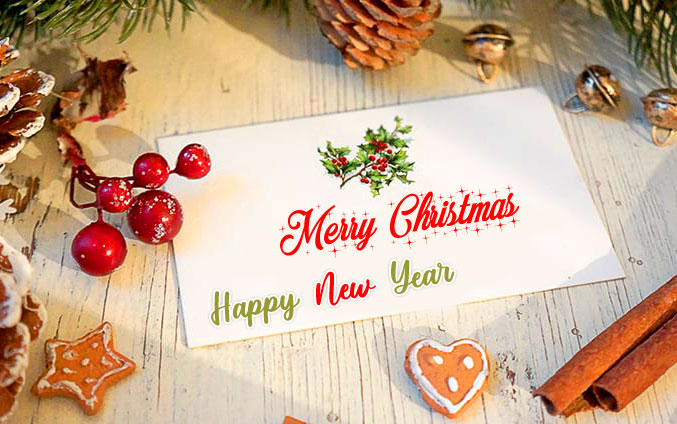 Merry Christmas and Happy New Year Message Wallpaper