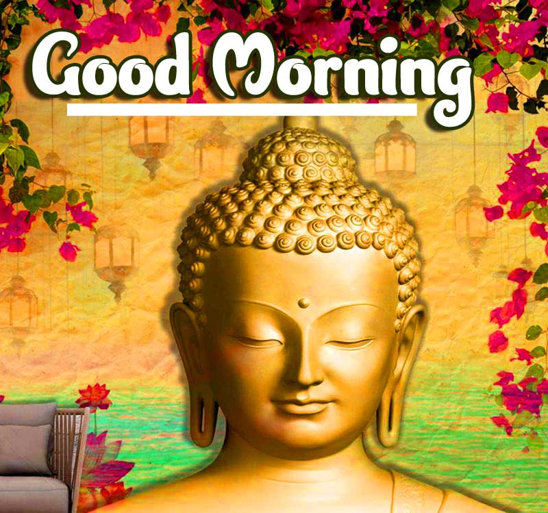 Multicolour Good Morning Wishing on Buddha Photo