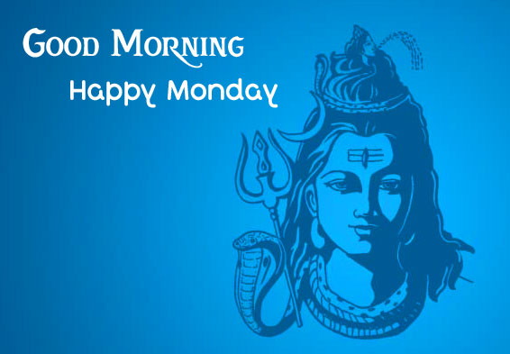 Painting of Shiva with Good Morning Happy Monday Wish