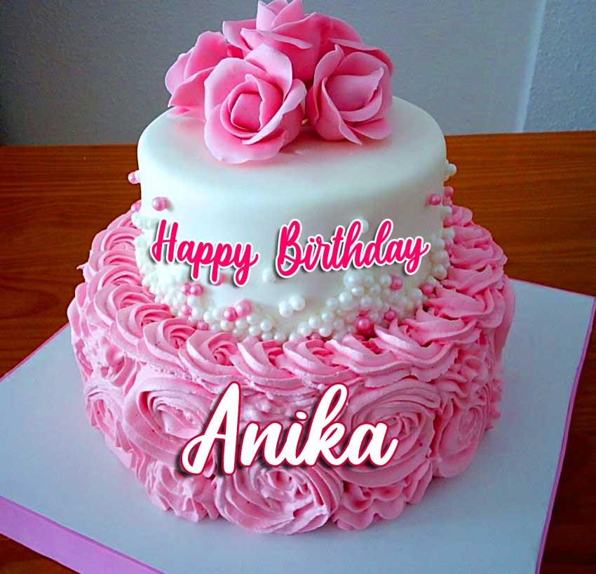 Pink Tiered Cake with Happy Birthday Message