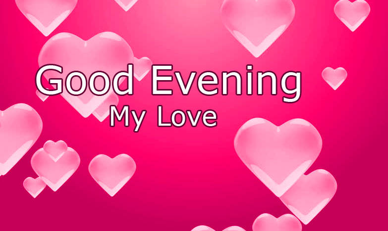 Pink Hearts with Good Evening Wishing