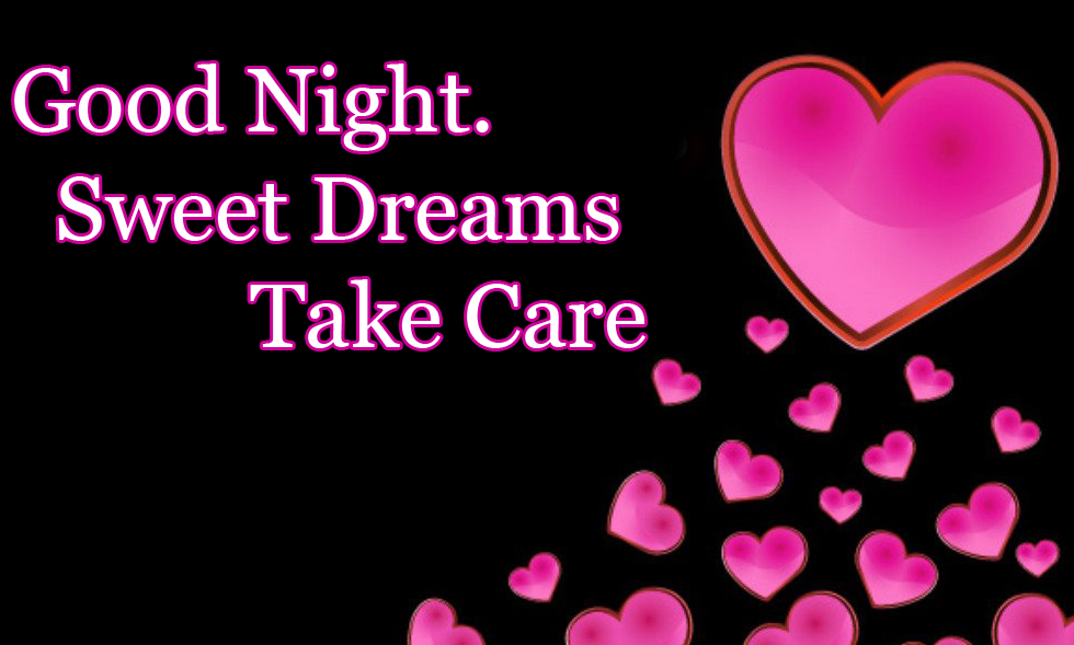 Pink Hearts with Good Night Wishing