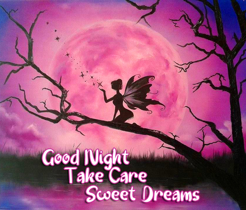 Pink Moonlight with Fairy and Good Night Wishing