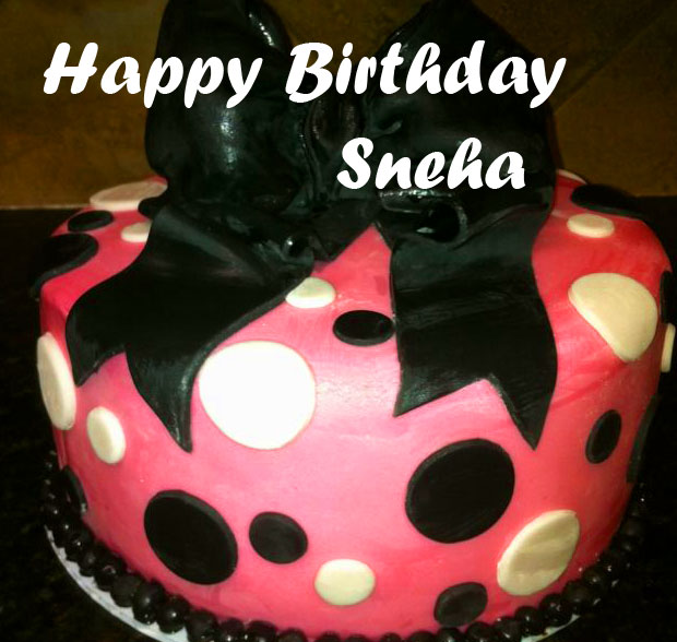 Pink and Black Cake with Name and Happy Birthday Wish