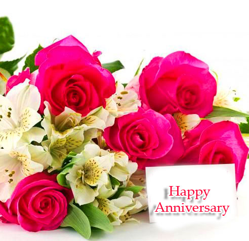 Pink and White Flowers with Happpy Anniversary Wishing Image
