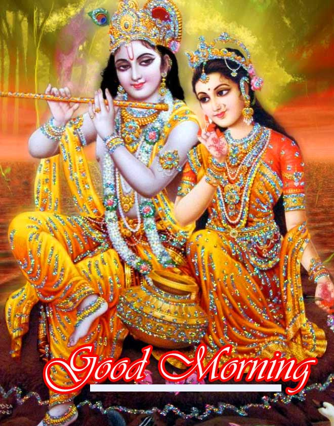 Radha and Krishna Good Morning Wish Image HD