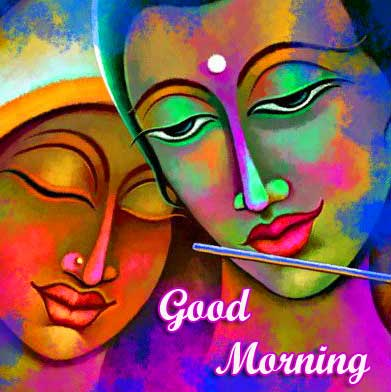 Radha and Krishna Painting with Good Morning Wish
