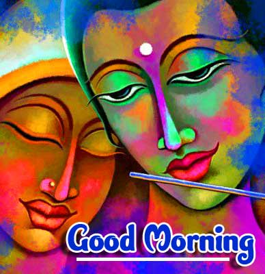 Radha and Krishna Picture with Good Morning Wish
