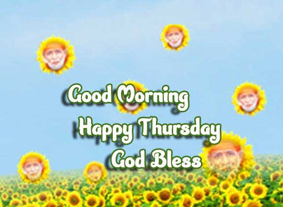 Rain of Sunflower with Sai Baba Photo and Happy Thursday Wishing