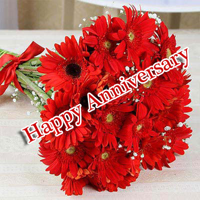 Red Flowers Bouquet with Happpy Anniversary Wish