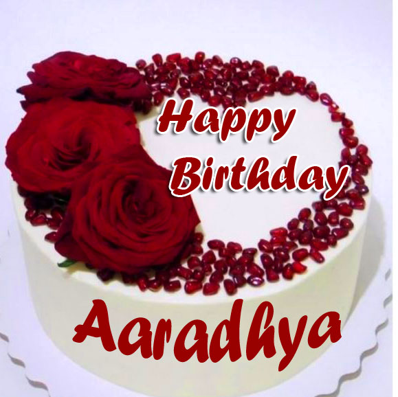 Red Flowers Cake with Happy Birthday Message