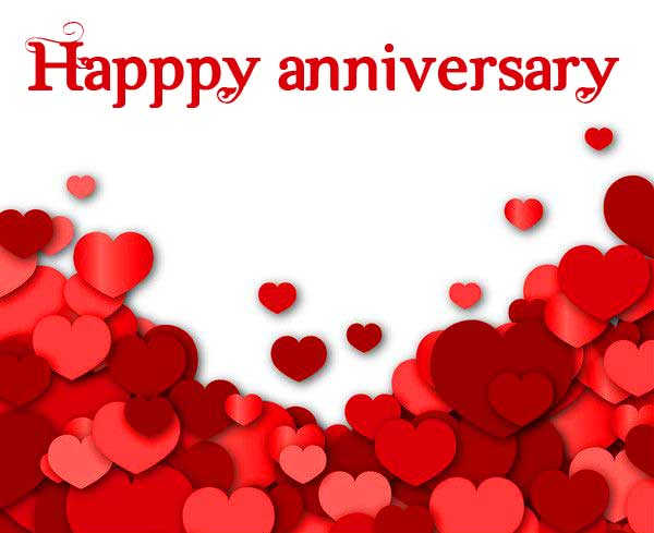 Red Hearts with Happpy Anniversary Wish