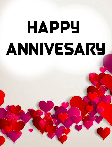 Red Hearts with Happpy Anniversary Wishing