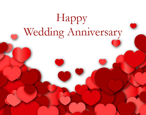 Red Hearts with Happy Wedding Anniversary Wish