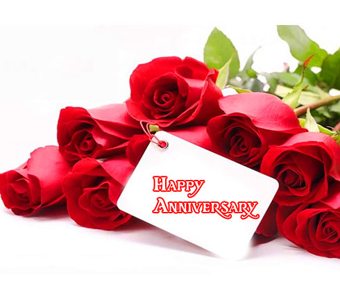 Red Roses with Happpy Anniversary Card