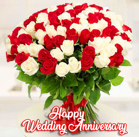 Red and White Flowers Bouquet with Happy Wedding Anniversary Wishing
