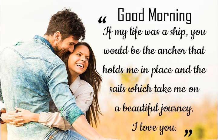 Romancing Couple with Good Morning Wishing Copy