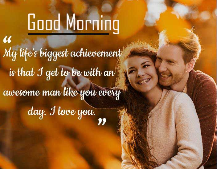 Romantic Couple with Good Morning Wishing HD Copy