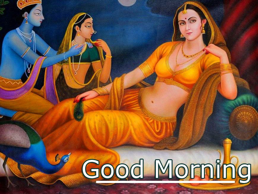 Romantic Radha and Krishna Good Morning Image HD