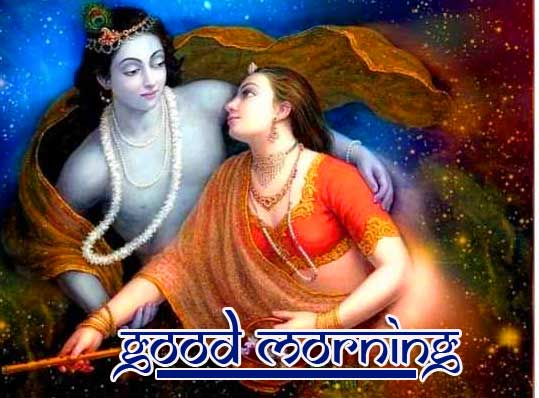 Romantic Radha and Krishna Good Morning Wish