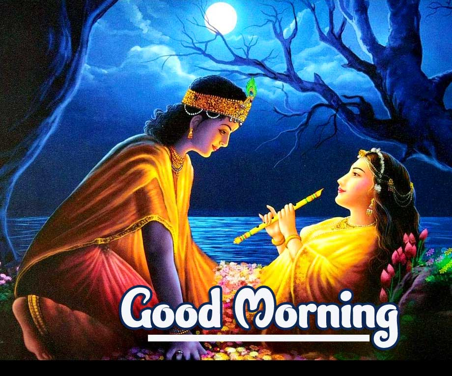 Romantic Radha and Krishna Pic with Good Morning Message