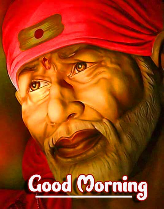 Sai Baba Picture with Good Morning Wishing