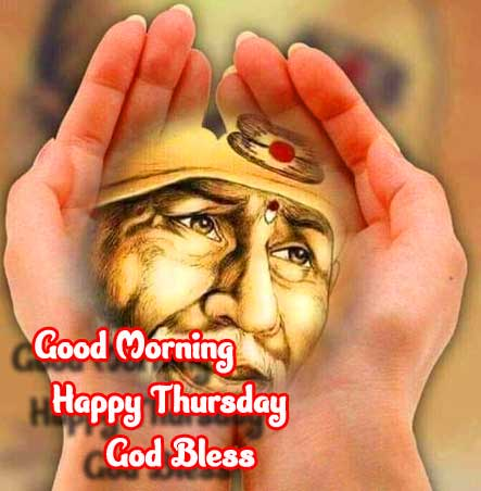 Sai Baba in Handcups with Good Morning Wishing Image