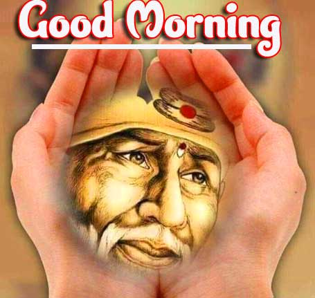 Sai Baba in Hands with Good Morning Wishing