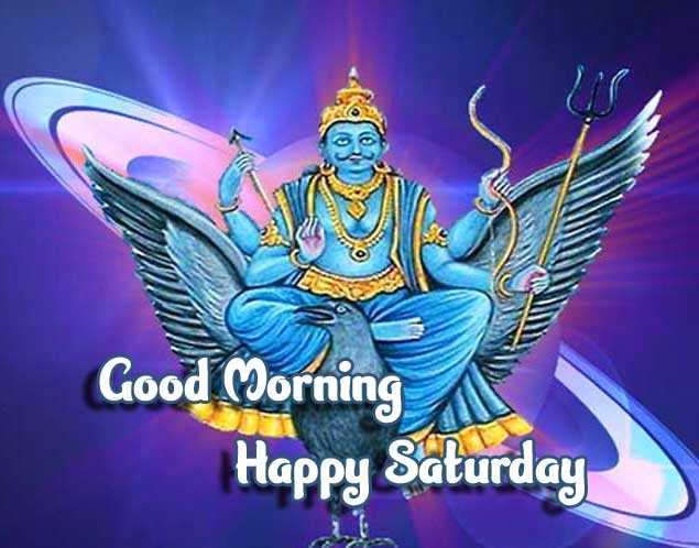 Shani Dev in Universe with Good Morning Image
