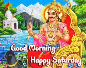 Shani Dev on Golden Chair with Good Morning Message Image
