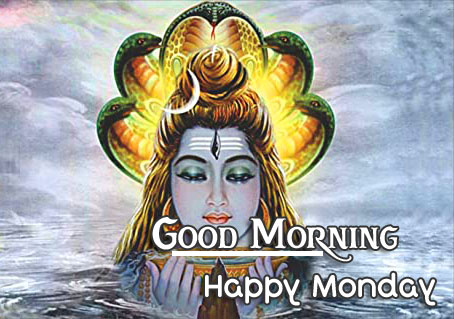 Shiva with Nag and Good Morning Happy Monday Wish