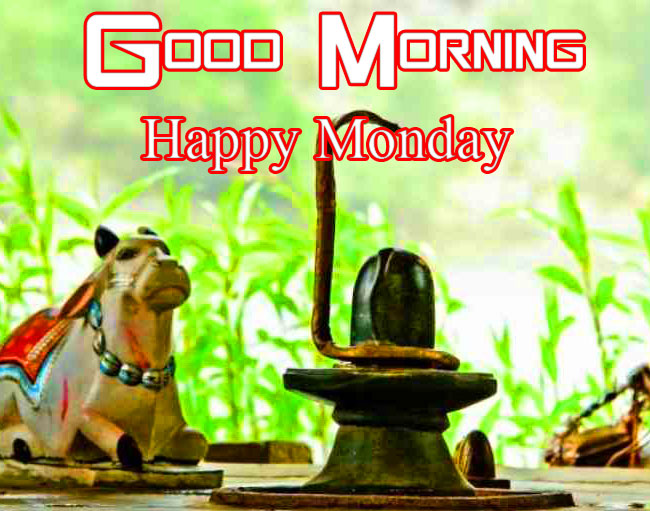 Shivling with Good Morning Happy Monday Wish
