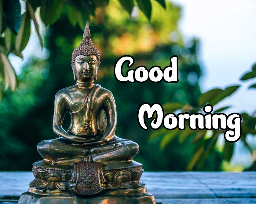 Small Golden Buddha Statue with Good Morning Wishing