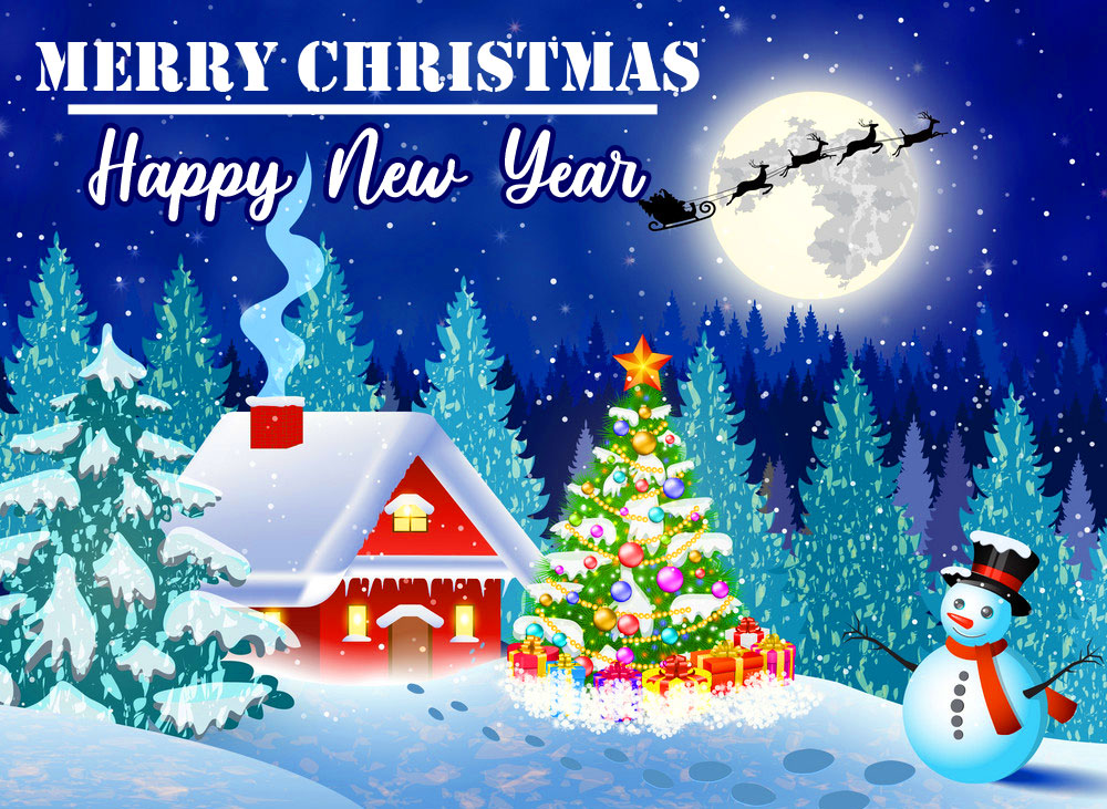 Snowy Merry Christmas and Happy New Year Image