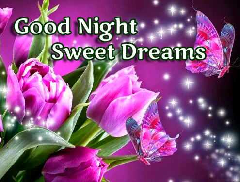 Sparkling Flowers with Good Night Wishing