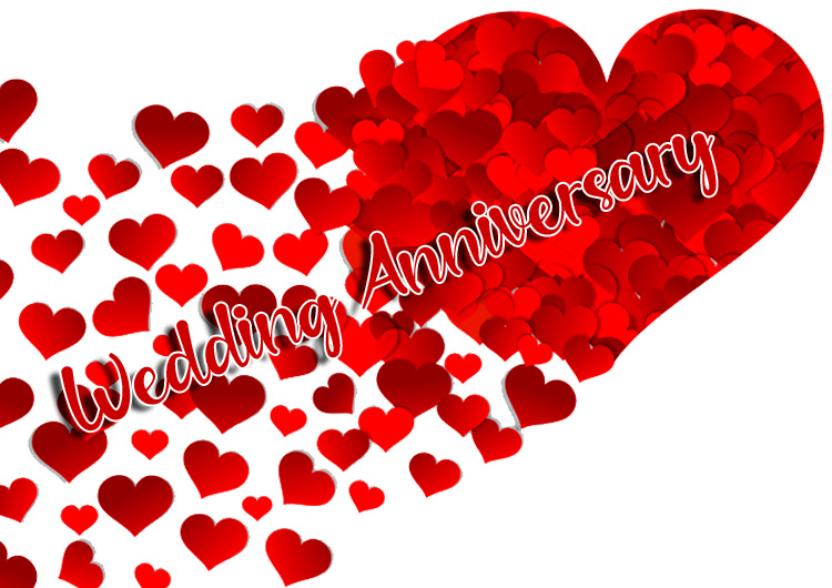 Spliting Heart with Wedding Anniversary Message