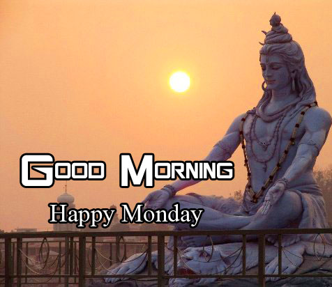 Sunrise Shiva with Good Morning Happy Monday Wish
