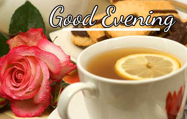 Tea Cup with Roses and Good Evening Image