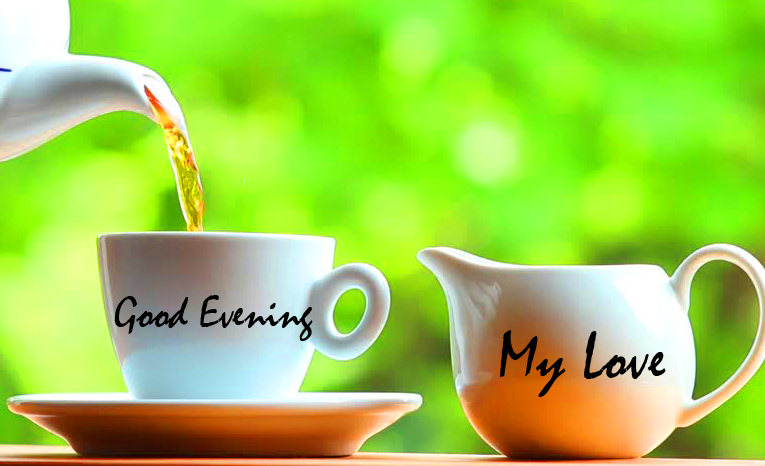 Tea Cups Good Evening with Green Backgound
