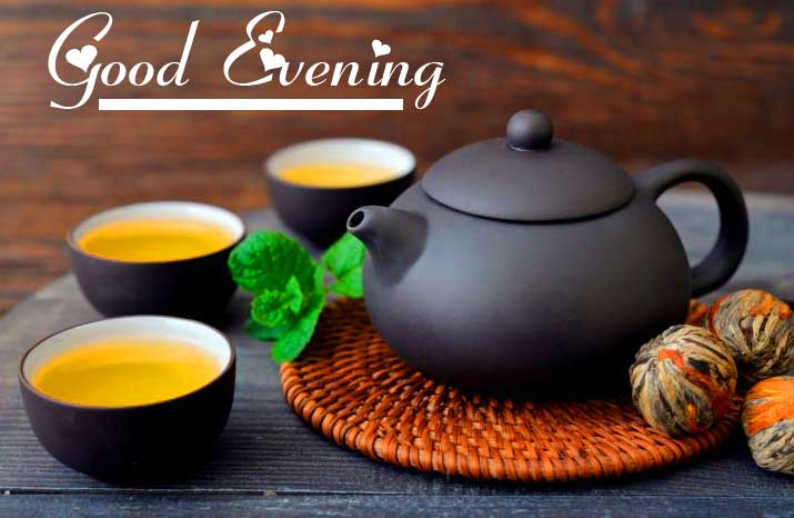 Teapot with Tea Cups and Good Evening Wishing