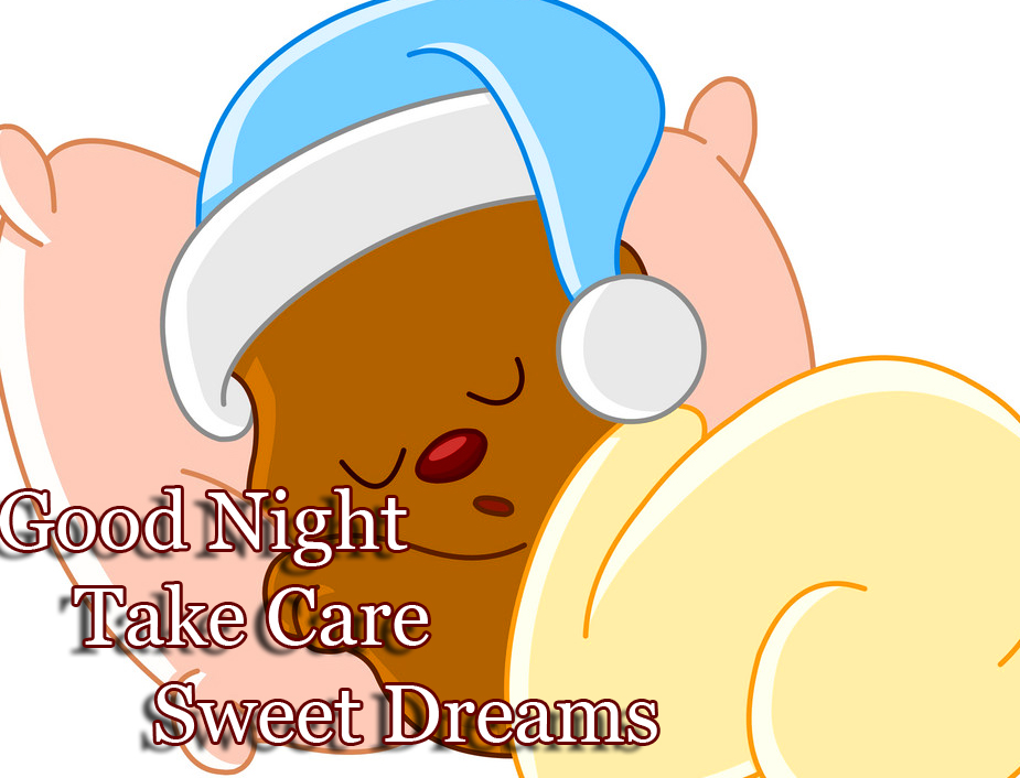 Teddy Bear with Sleeping Cap and Good Night Wishing
