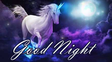 Unicorn in Moonlight with Good Night Wish