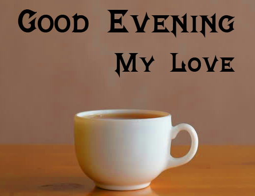 White Ceramic Tea Cup with Good Evening Image