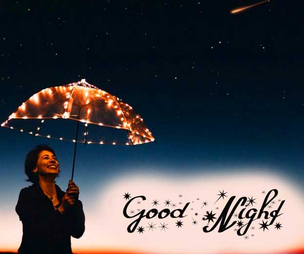 Woman Under Lighted Umbrella with Good Night Wish
