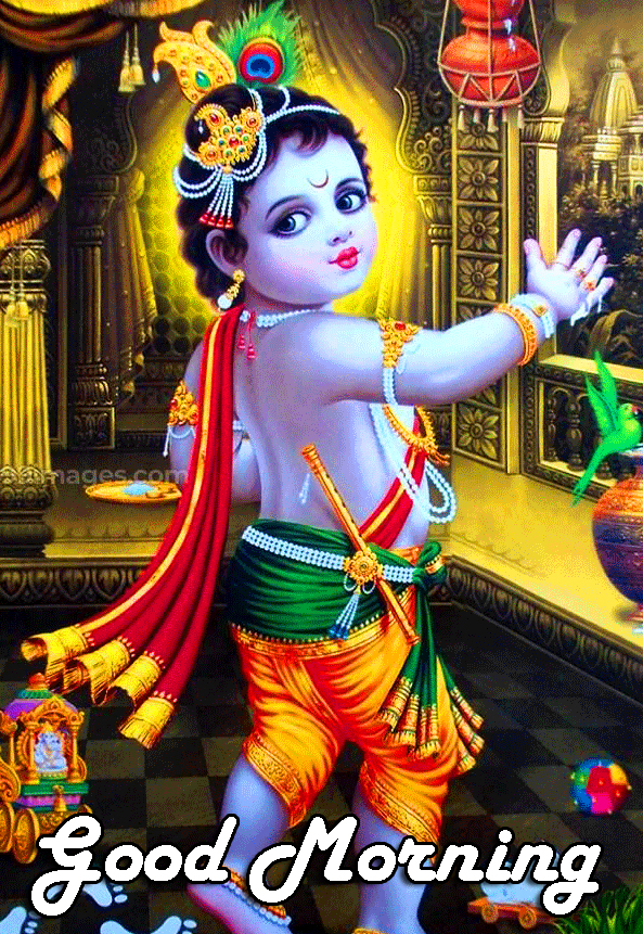 Adorable Bal Krishna Good Morning Image